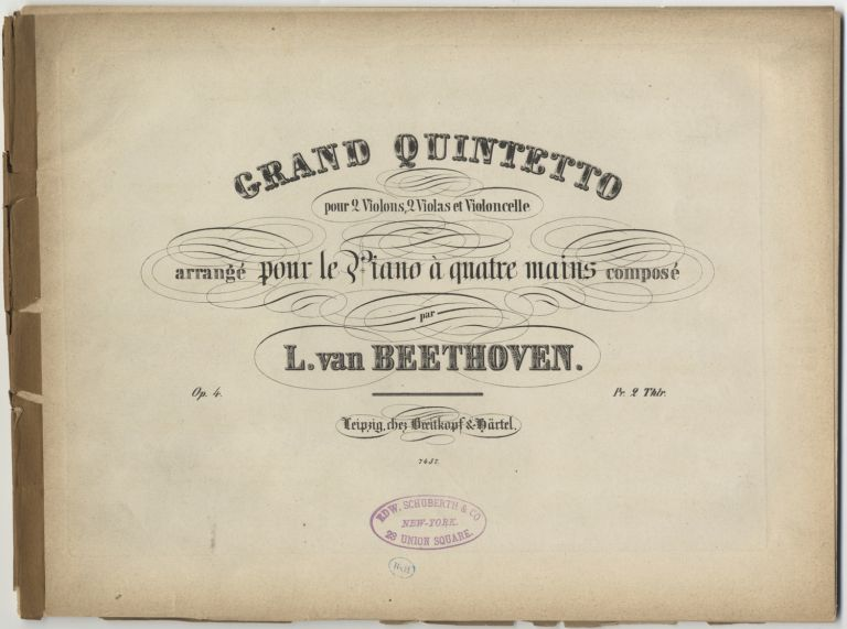 [Op. 4; arr.]. Grand Quintetto [Piano 4-hands]. Ludwig van BEETHOVEN.