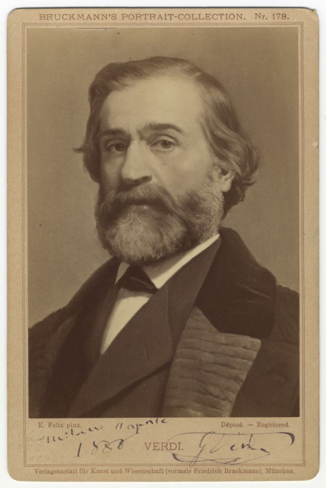 """Cabinet card photograph signed (""""G Verdi"""") on the day the composer was decorated by the King of Italy as """"Cavaliere of the Great Cross of Italy"""" and dated """"Milano 11 aprile 1880."""" in Verdi's hand. Giuseppe VERDI."""