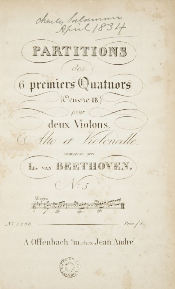 [Op. 18, No. 5]. Partitions des 6 premiers Quartuors [Score]. Ludwig van BEETHOVEN.