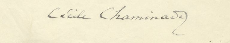 Autograph letter signed in full to Belgian King Albert I. Cécile CHAMINADE.