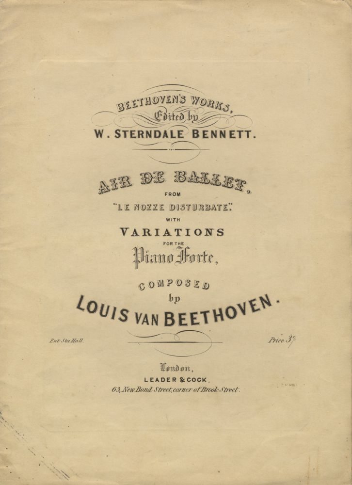 "[WoO 68]. Air de Ballet, from ""Le Nozze Disturbate,"" with Variations for the Piano-Forte. Ludwig van BEETHOVEN."