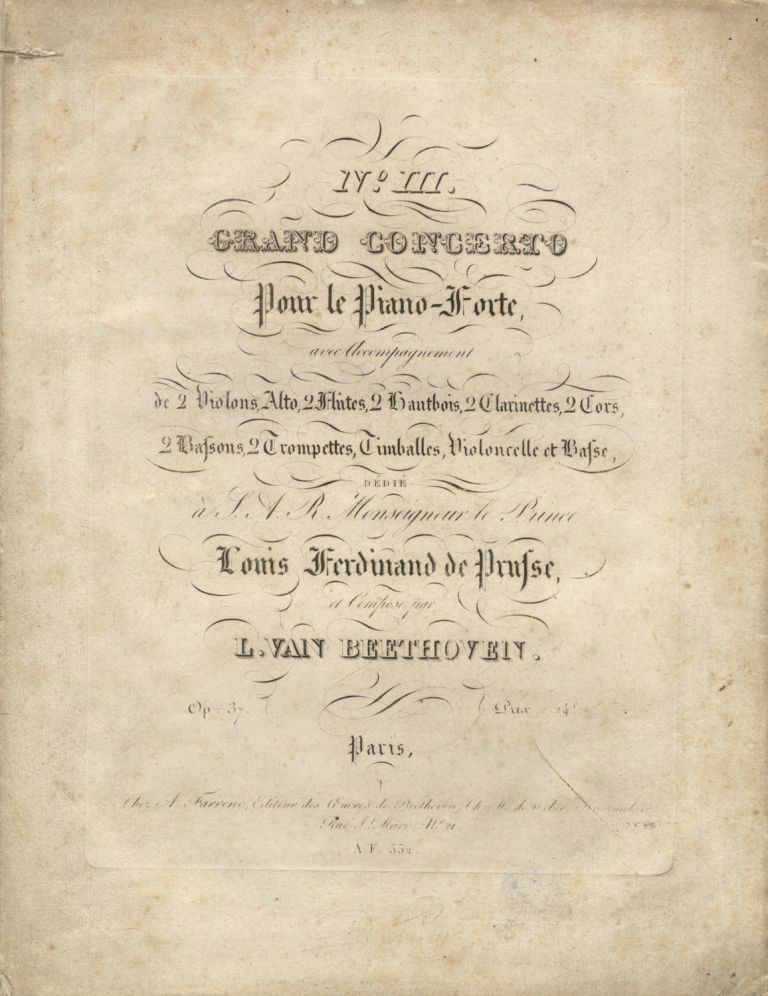 [Op. 37]. No. III. Grand Concerto pour le Piano-Forte [Piano part only]. Ludwig van BEETHOVEN.