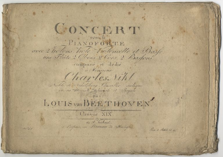 [Op. 19]. Concert pour le Pianoforte [First Piano Concerto, piano part only]. Ludwig van BEETHOVEN.