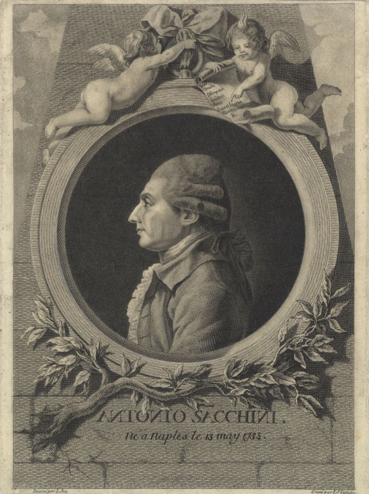 Fine portrait engraving by L.J. Cathelin after L. Jay. Antonio SACCHINI.