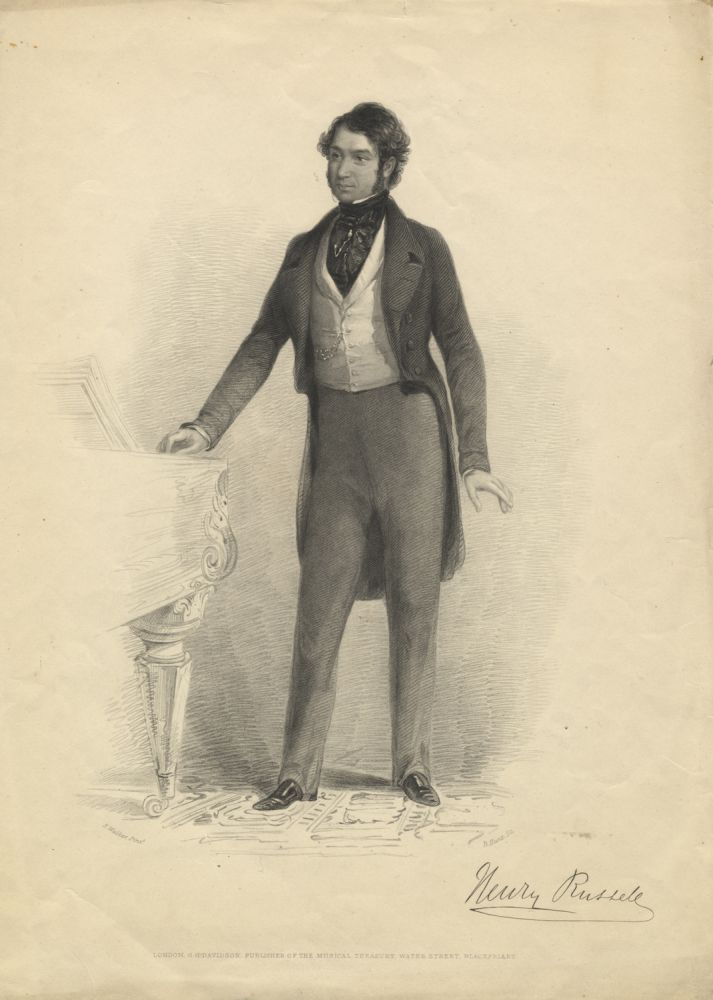 Fine portrait engraving by B. Hunt after E. Walker. Henry RUSSELL.