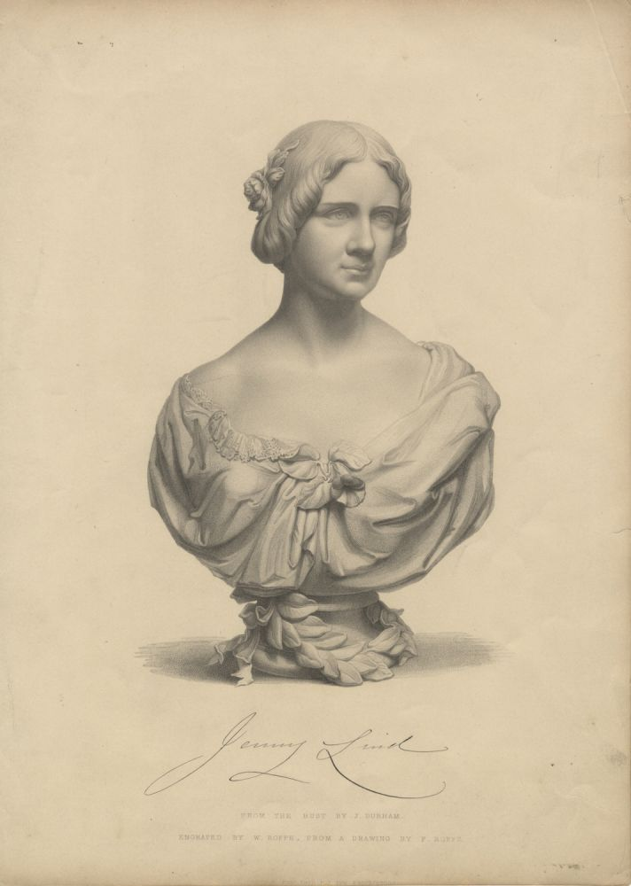 Engraving by W. Roffe after F. Roffe of the bust by J. Durham. Jenny LIND.