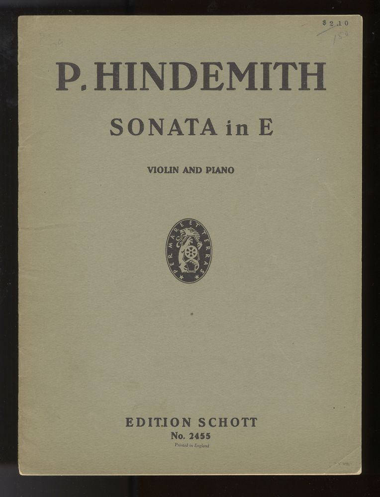 Sonate in E für Geige und Klavier ... (1935). [Score and part]. Paul HINDEMITH.