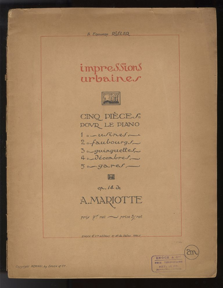 [Op. 14]. Impressions urbaine pour piano. With autograph inscription from the composer to pianist Paul Loyonnet. Antoine MARIOTTE.