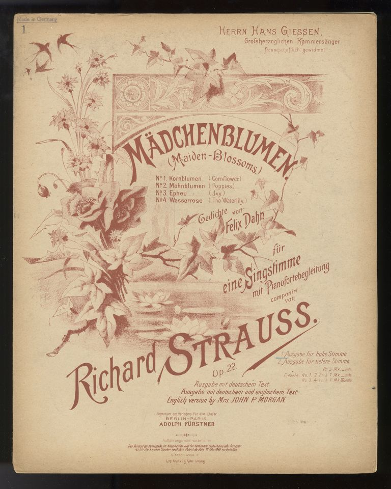 Collection of lieder. [Piano-vocal scores]. Richard STRAUSS.