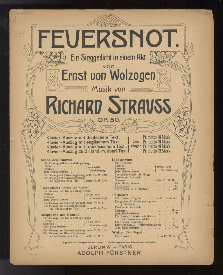 Selections from operas. [Solo piano arrangments]. Richard STRAUSS.