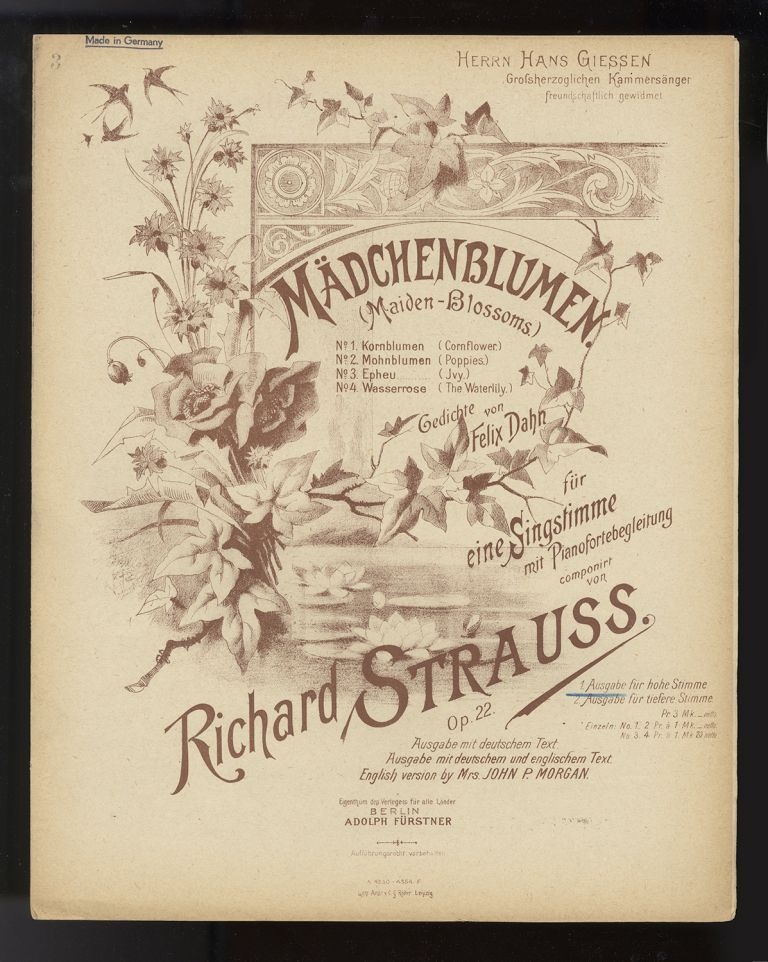 Collection of 6 lieder. [Piano-vocal scores]. Richard STRAUSS.