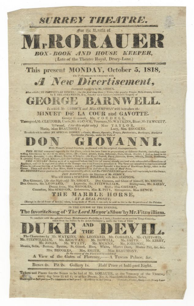 Broadside playbill for a benefit concert at Surrey Theatre on 5 October 1818 featuring a parody of Mozart's Don Giovanni. Wolfgang Amadeus MOZART.