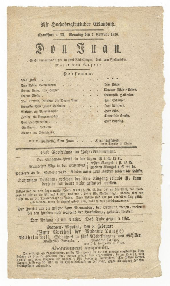 Broadside playbill for a performance of Don Juan in Frankfurt on 7 February 1836. Wolfgang Amadeus MOZART.