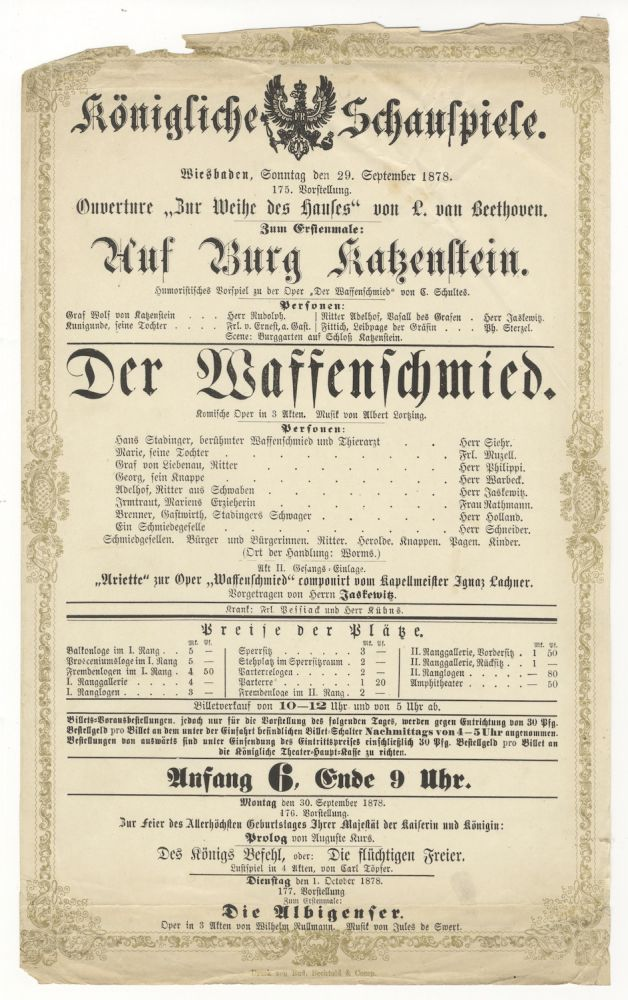 Broadside playbill for a performance in Wiesbaden at the Königliche Schauspiele on 29 September 1878 published by Rud. Bechtold & Comp. Ludwig van BEETHOVEN.