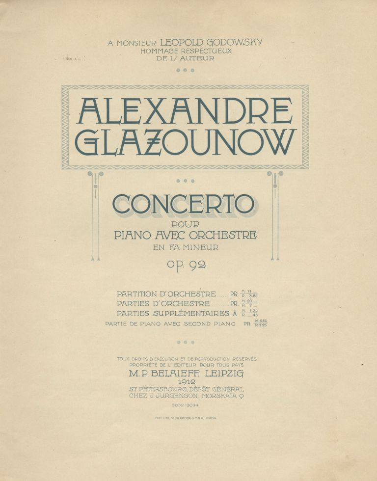 [Op. 92]. Piano Concerto No. 1 in F minor [2-piano reduction]. Aleksandr GLAZUNOV.