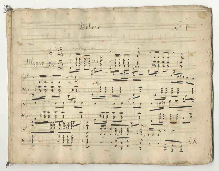 Bolero. [Musical manuscript collection of 7 pieces for solo piano]. Italy, early 19th century. ANON. early 19th c.