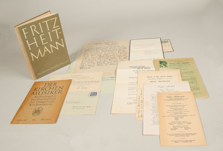 Small archive of material relating to the virtuoso German organist Fritz Heitmann containing a biographical statement in Heitmann's autograph, letters, programs, a published biography, and associated documents. From the collection of the American organist and scholar Professor William A. Little. Fritz HEITMANN.