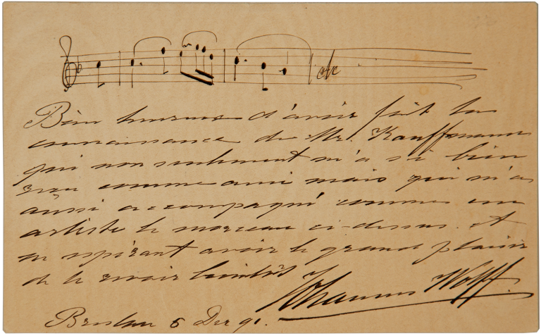 Autograph letter signed in full, with 3-measure unidentified autograph musical quotation. WOLFF. Johannes.