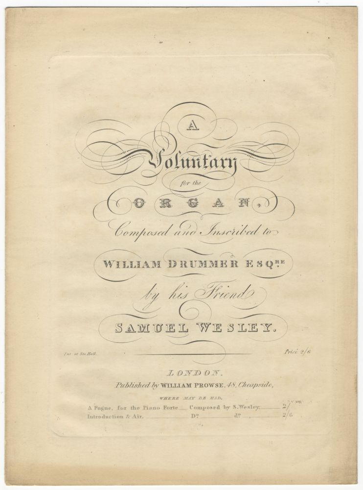 A Voluntary for the Organ. Samuel WESLEY.