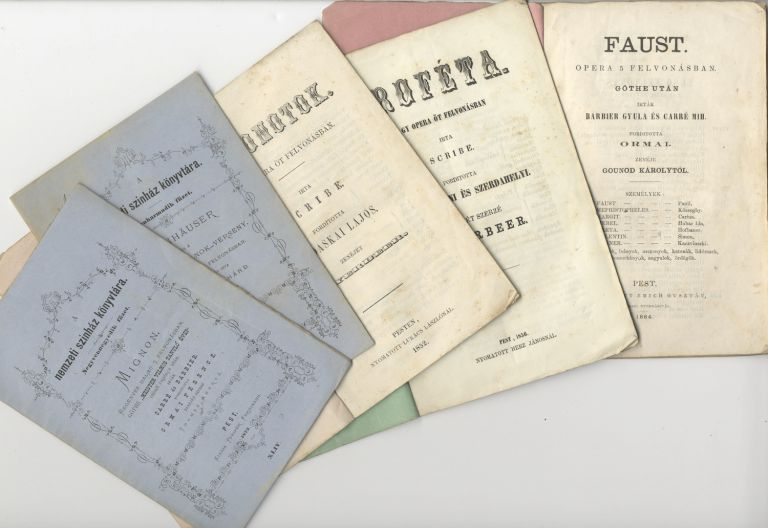 Five scarce libretti in Hungarian of grand operas by Gounod, Meyerbeer, Wagner, and Thomas, all with named cast lists. OPERA - 19th Century - Libretti.