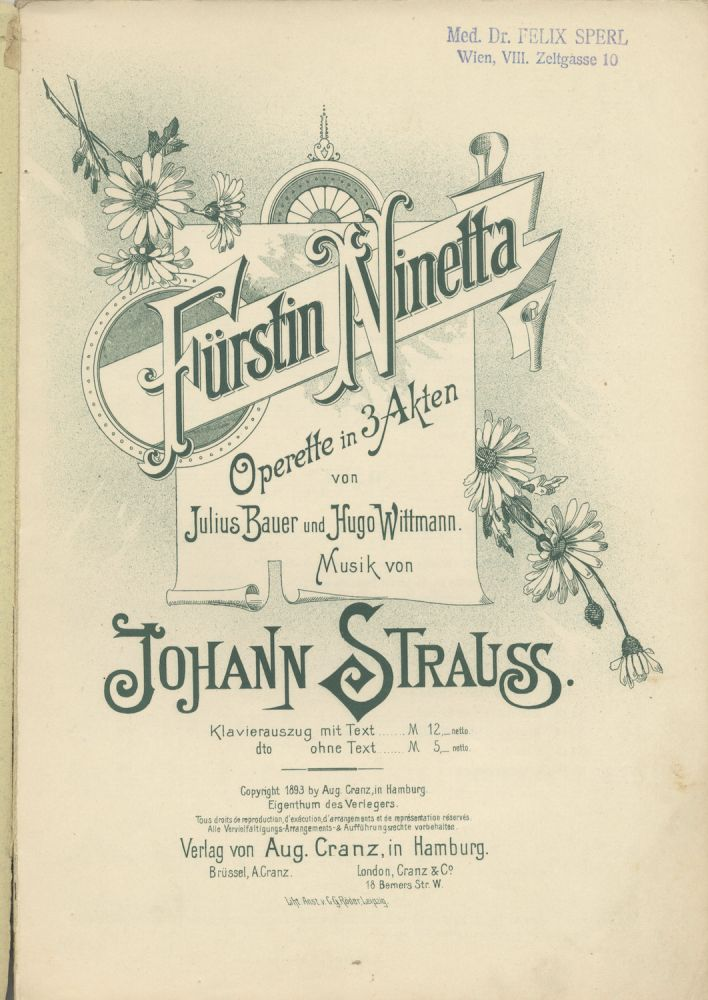 Fürstin Ninetta [Piano-vocal score]. Johann STRAUSS, Jr.