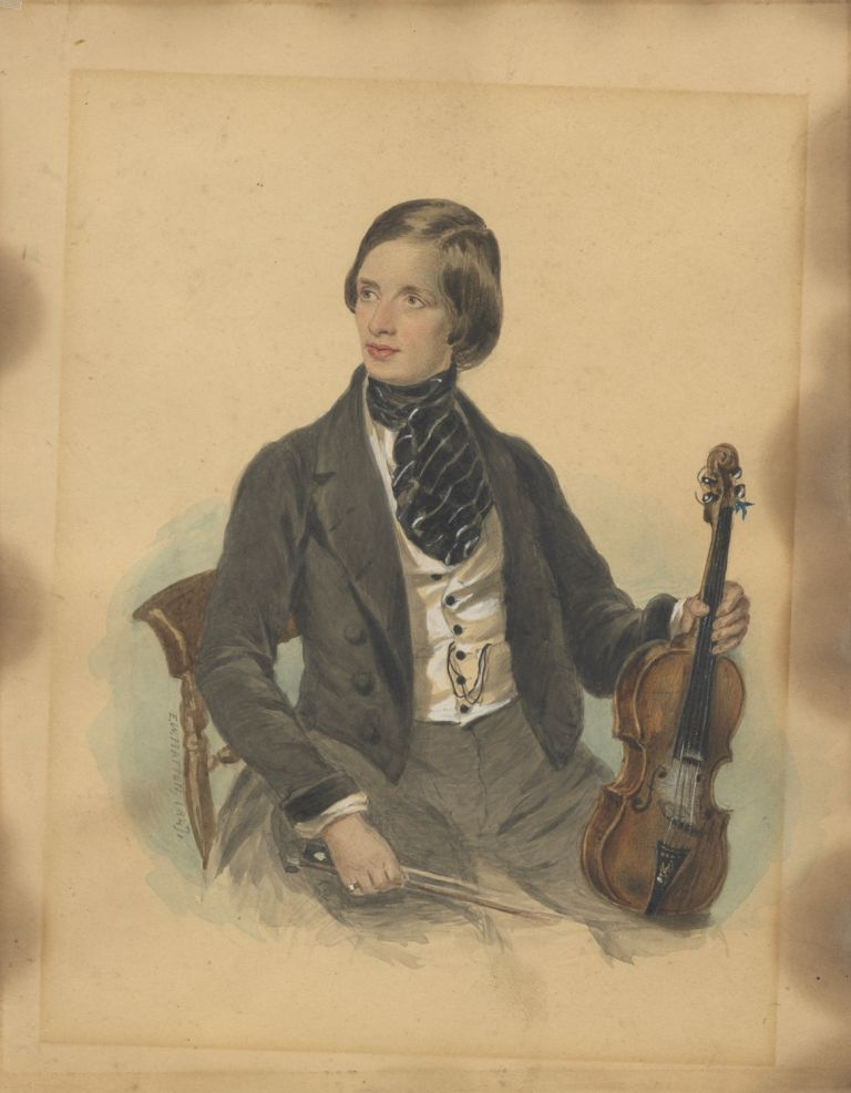 Original watercolor portrait of an unknown violinist, possibly Georg Hellmesberger Jr. VIOLINISTS.