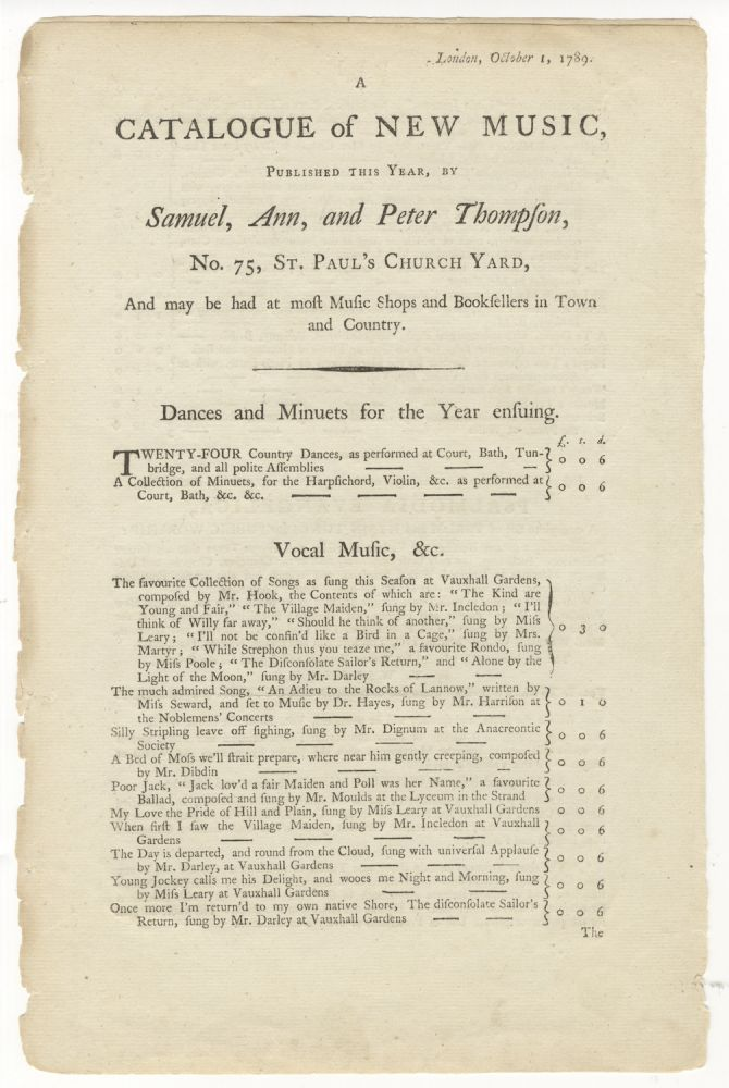 A Catalogue of New Music, published this year. MUSIC PUBLISHER'S CATALOGUE - English - 18th Century.