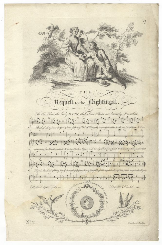 The Request to the Nightingal. The Words by Mr. Lockman. Set by Mr. Handel. Plate 17 from George Bickham's The Musical Entertainer. George Frideric HANDEL.