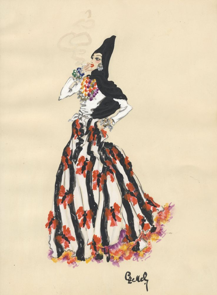 Original costume/fashion design in gouache and watercolor of a woman with flowing black hair, smoking a cigarette, in colorful dress, wearing multi-colored necklaces and bracelets, DANCE.