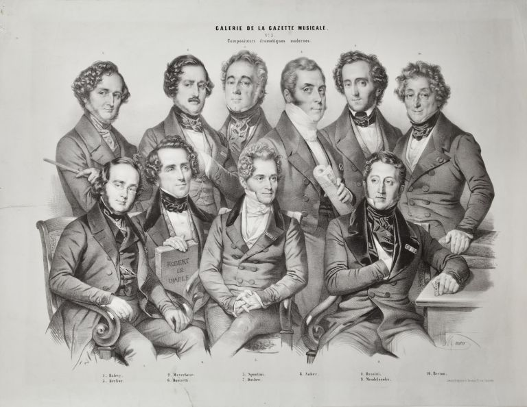 Finely-drawn lithographic group portrait of 10 major 19th century composers by the notable portrait artist Nicholas-Eustache Maurin (1799-1850). COMPOSERS - 19th Century Lithograph.