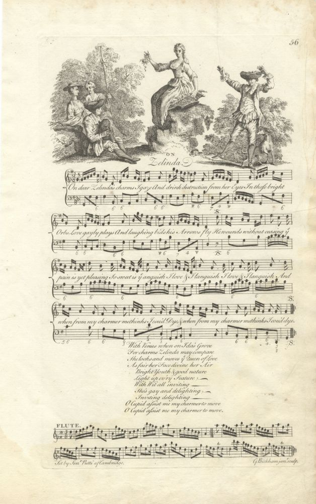 On Lelinda. Set by Senr. Putti of Cambridge. Plate 56 from George Bickham's The Musical Entertainer. Signor fl PUTTI.