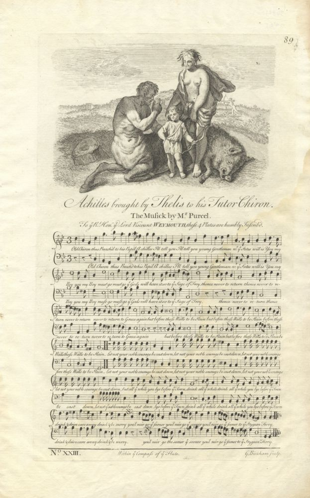 Achilles brought by Thelis to his Tutor Chiron. The Music by Mr. Purcel[!]. Plate 89 from George Bickham's The Musical Entertainer. Henry PURCELL.