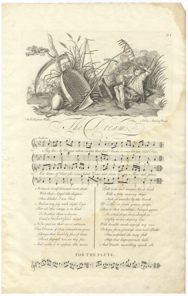 The Dream. The Words from Waller. Set by Antony Neale. Plate 94 from George Bickham's The Musical Entertainer. Antony fl. ca. 1740 NEALE.