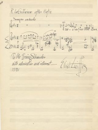 "Autograph musical quotations from Laparra's ""L'Illustre Fregona"" and Griffes's ""R. Le Gallienne after Hafiz,"" signed and dated 1931. Elliot GRIFFES, Raoul LAPARRA."