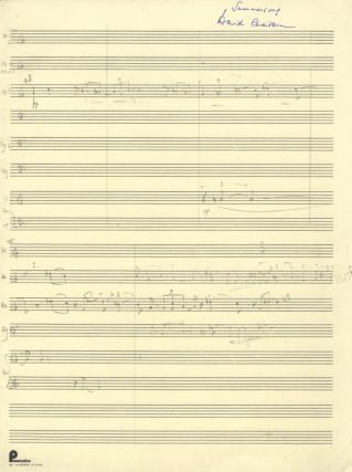 """Summersong"" for 23 wind instruments. Autograph sketchleaf in full score. Signed. David CHAITKIN."