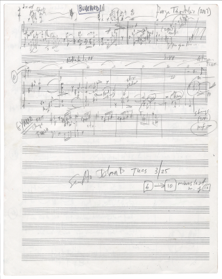 Bluebird, a setting for two female voices with instrumental accompaniment of Herman Melville's poem. Autograph musical manuscript. Signed and dated 2007. A complete working draft