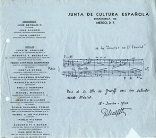 Autograph musical quotation signed and dated June 18, 1940. Rodolfo HALFFTER.