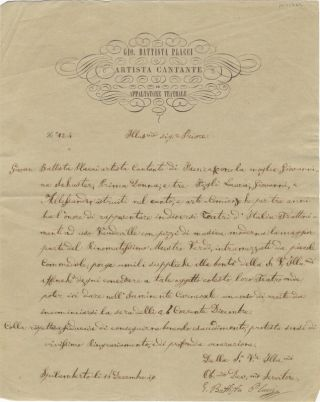 Autograph letter signed to Signor Priore. Giovanni Battista 179?-186? PLACCI.