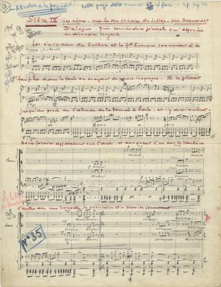 La femme barbe. Autograph musical manuscript excerpt from the incidental music to the comedy first performed in 1938. Claude DELVINCOURT.