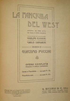 La Fanciula del West [Piano-vocal score]. Giacomo PUCCINI