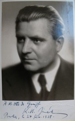 Postcard photograph signed K.B. Jirák, inscribed to the Colombian musicologist Otto de Greiff, and dated February 24, 1938, with autograph note signed to verso apologizing for his tardy reply. Karel Boleslav JIRÁK.
