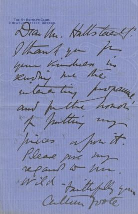 Autograph letter signed to Mr. [John James] Hattstaedt, founder of the American Conservatory....