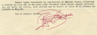 Typed letter signed in red ink to the noted Colombian musicologist and diplomat Otto de Greiff. Roque CORDERO.