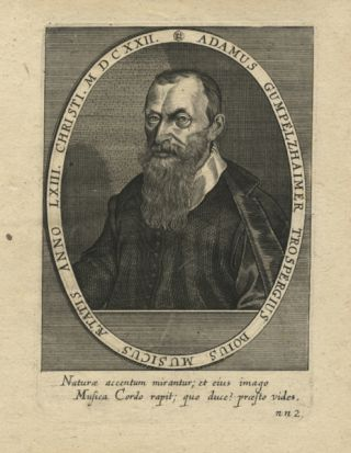 Fine half-length portrait engraving of the composer aged 63. Adam GUMPELZHAIMER.