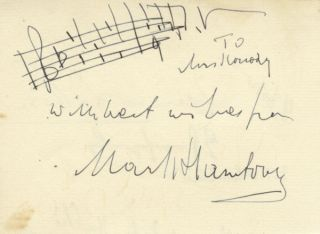 Autograph musical quotation signed in full. Mark HAMBOURG