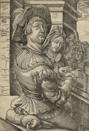 Psaltery (salterio) player accompanying a group of singers. Woodcut after a drawing by Hendrick Goltzius (1558-1617). Christof van SICHEM.
