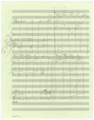 Thurber's Dogs. Suite for Orchestra after Drawings by James Thurber. Movement VI: Hunting Hounds. Autograph musical manuscript sketches in condensed score of almost the entire final movement of the work, consisting of music for sections B-N, i.e., pp. 111-137 of the published full score. Peter 1935- SCHICKELE.