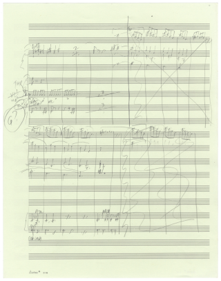 Thurber's Dogs. Suite for Orchestra after Drawings by James Thurber. Movement VI: Hunting Hounds. Autograph musical manuscript sketches in condensed score of almost the entire final movement of the work, consisting of music for sections B-N, i.e., pp. 111-137 of the published full score