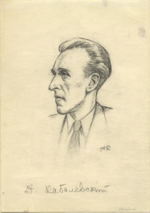 Original head-and-shoulders drawing by Alexander Kostomolotsky (1897/8-1975) of the composer in right profile in black crayon. Undated, but ca. 1945-50. Signed by the artist with initials. Dmitry KABALEVSKY.