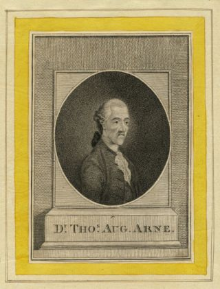Stipple half-length oval portrait engraving. Thomas Augustine ARNE.